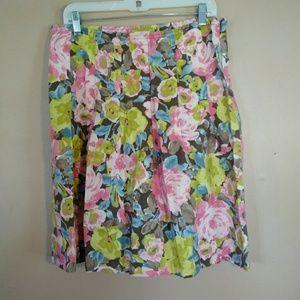 J Jill XS Floral Pleated Linen Skirt